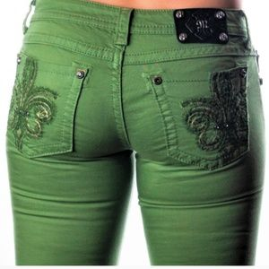 Miss Me pine green skinny jeans size 27